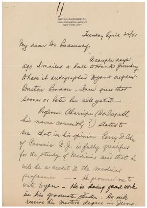 Primary view of object titled '[Letter from Irving Ehrenreich to Meyer Bodansky - April 22, 1941]'.