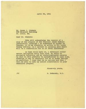 Primary view of object titled '[Letter from Meyer Bodansky to James E. Stowers - April 24, 1941]'.