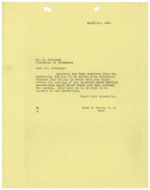 Primary view of object titled '[Correspondence between John W. Spies, Homer P. Rainey, and Meyer Bodansky - April 1941]'.