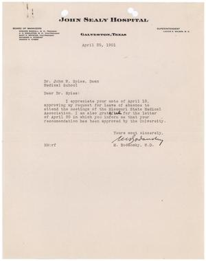 Primary view of object titled '[Letter from Meyer Bodansky to John W. Spies - April 25, 1951]'.