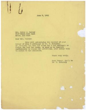 Primary view of object titled '[Correspondence between Meyer Bodansky and Molly J. Walder - June 1941]'.