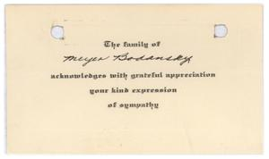 Primary view of object titled '[Note from the Family of Meyer Bodansky]'.