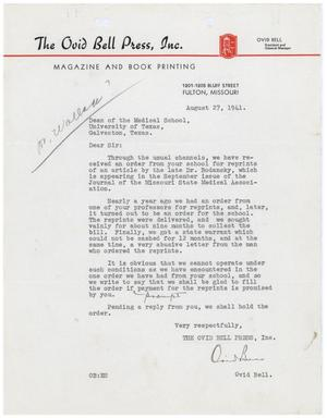 Primary view of object titled '[Letter from Ovid Bell to the Dean of the Medical School of the University of North Texas - August 27, 1941]'.