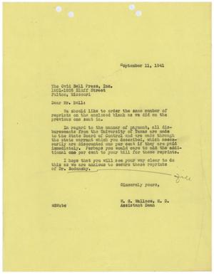 Primary view of object titled '[Letter from W. S. Wallace to Ovid Bell - September 11, 1941]'.