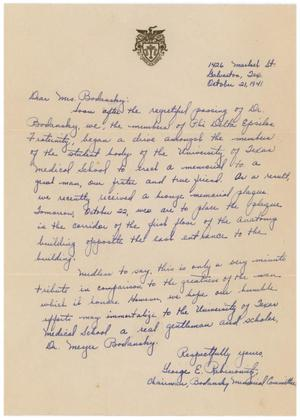 Primary view of object titled '[Letter from George E. Pabinowitz to Eleanor Bodansky - October 21, 1941]'.