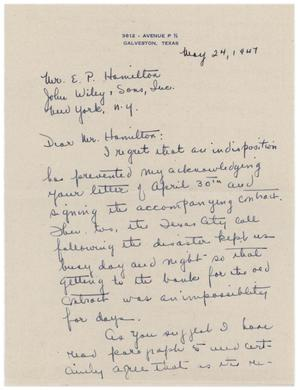 Primary view of object titled '[Letter from Eleanor A. Bodansky to E. P. Hamilton - May 24, 1947]'.