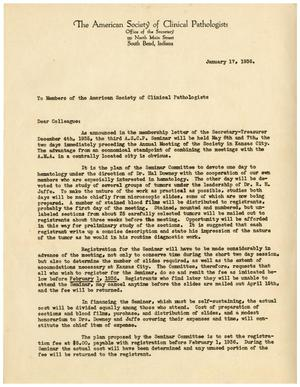 Primary view of object titled '[Letter to Members of the American Society of Clinical Pathologists - January 17, 1936]'.