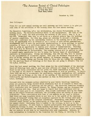 Primary view of object titled '[Letter from A. S. Giordano to Members of the American Society of Clinical Pathologists - December 4, 1936]'.