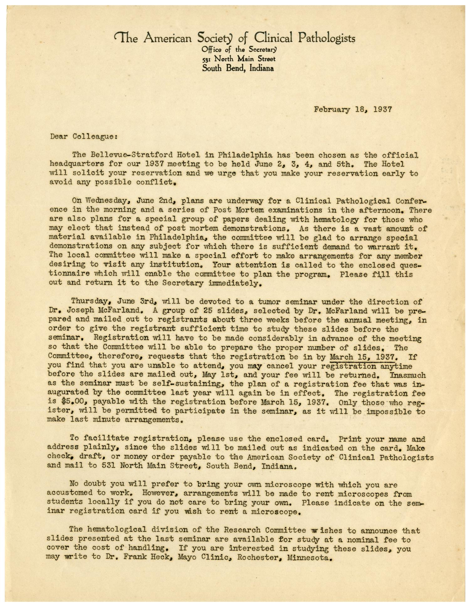 [Letter from The American Society of Clinical Pathologists - February 18, 1937]                                                                                                      [Sequence #]: 1 of 4
