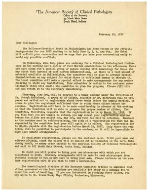 Primary view of object titled '[Letter from The American Society of Clinical Pathologists - February 18, 1937]'.