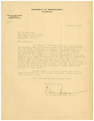 Primary view of object titled '[Letter from F. William Sunderman to Meyer Bodansky - August 6, 1937]'.