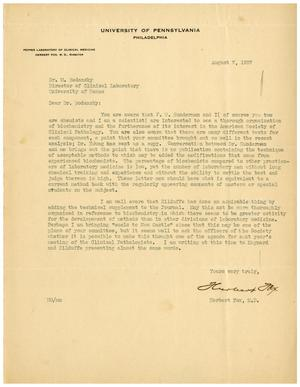 Primary view of object titled '[Letter from Herbert Fox to Meyer Bodansky - August 7, 1937]'.