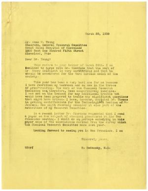 Primary view of object titled '[Correspondence between Anna M. Young and Dr. Meyer Bodansky - March 1938]'.