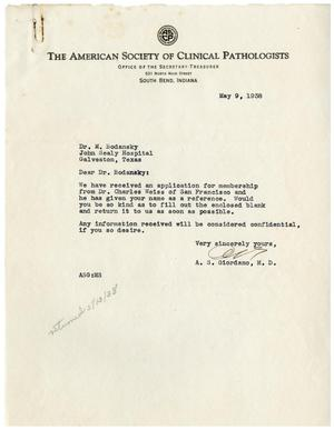 Primary view of object titled '[Letters from Dr. Meyer Bodansky Regarding the Application of Dr. Charles Weiss - May 1938]'.