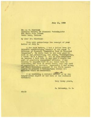 Primary view of object titled '[Letter from Meyer Bodansky to A. S. Giordano - July 11, 1938]'.