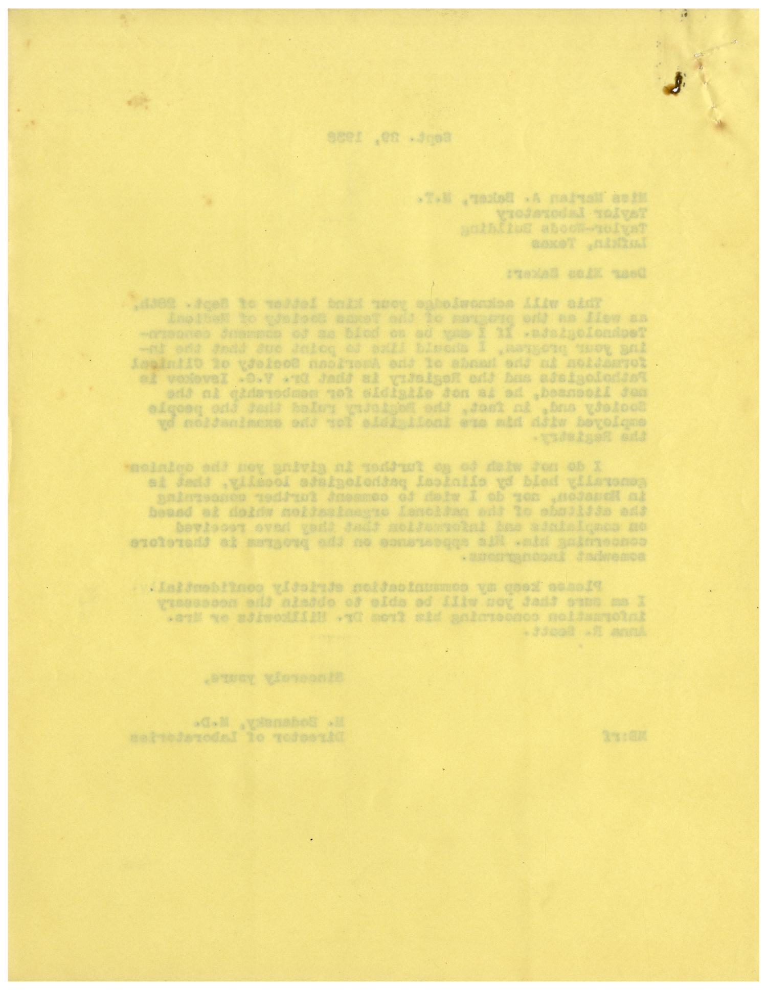 [Correspondence between Marian A. Baker and Dr. Meyer Bodansky - September 1938]                                                                                                      [Sequence #]: 2 of 4