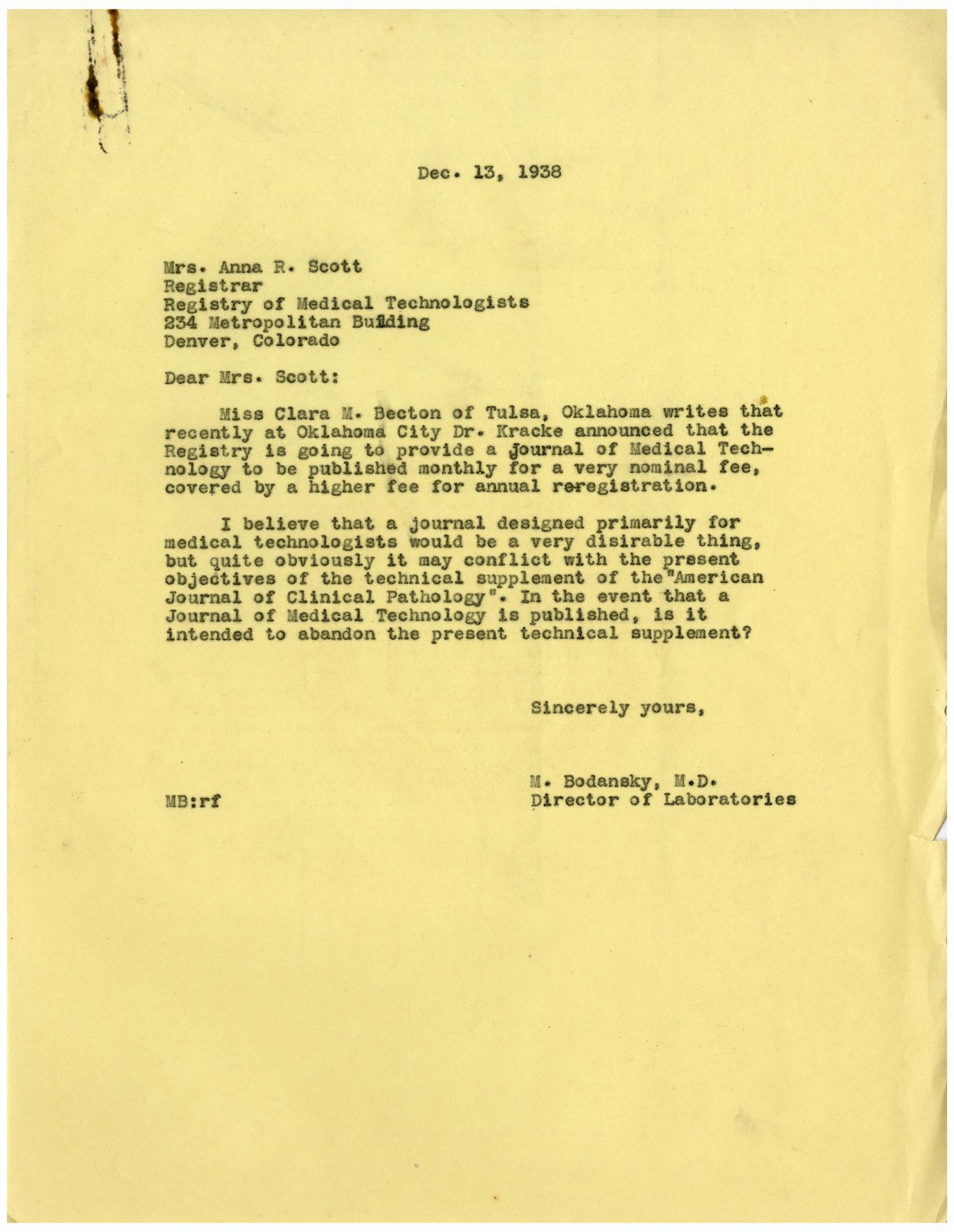Letter from Meyer Bodansky to Mrs  Anna R  Scott - December 13, 1938