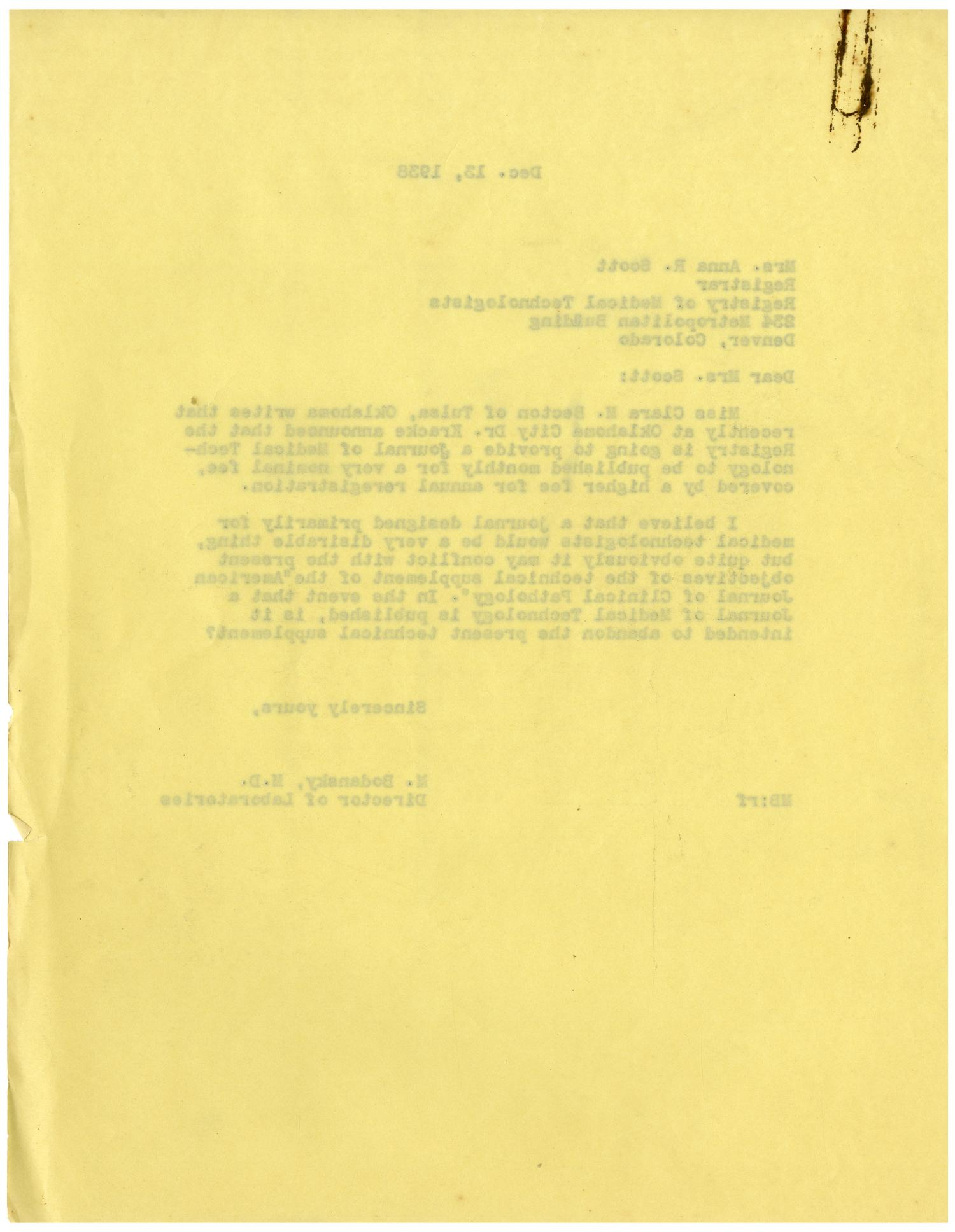 [Letter from Meyer Bodansky to Mrs. Anna R. Scott - December 13, 1938]                                                                                                      [Sequence #]: 2 of 2