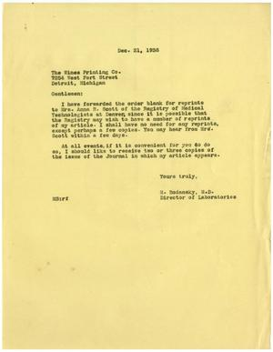 Primary view of object titled '[Letter from Meyer Bodansky to The Wines Printing Co. - December 21, 1938]'.