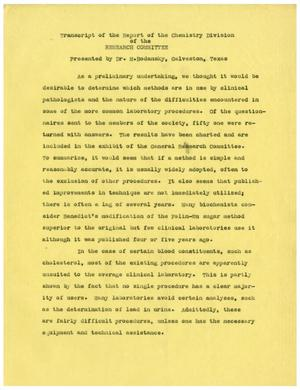 Primary view of object titled '[Transcript of the Report of the Chemistry Division of the Research Committee]'.