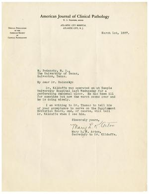 Primary view of object titled '[Letter from Mary L. K. Acton to Dr. Meyer Bodansky - March 1, 1937]'.