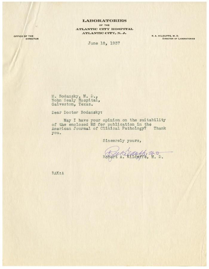 Letter from Robert A  Kilduffe to Meyer Bodansky - June 18, 1937