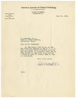 Primary view of object titled '[Letter from Robert A. Kilduffe to Meyer Bodansky - June 21, 1938]'.