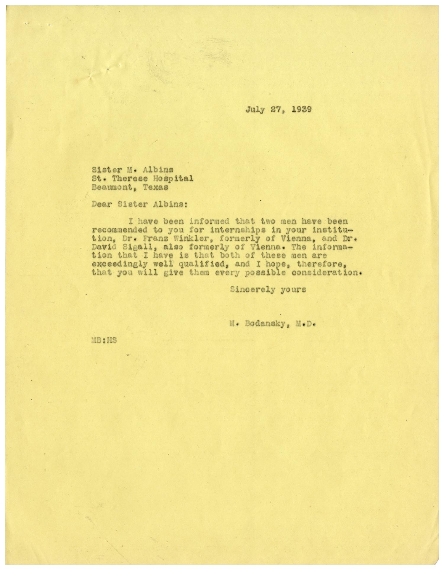 [Correspondence between Meyer Bodansky and Dr. Nicholas Michelson - July 1939]                                                                                                      [Sequence #]: 3 of 6