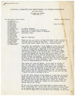 Primary view of object titled '[Letter from the National Committee for Resettlement of Foreign Physicians to Dr. Meyer Bodansky - July 28, 1939]'.