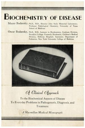 Primary view of object titled 'Biochemistry of Disease: A Clinical Approach To The Biochemical Aspects of Disease To Everyday Problems in Pathogenesis, Diagnosis, and Treatment'.