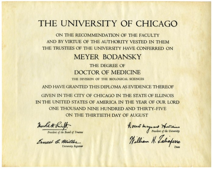 meyer bodansky s doctorate of medicine diploma from the university