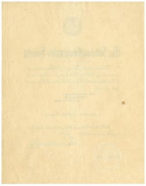 Primary view of object titled '[Dr. Meyer Bodansky's Certificate of Membership by the National Geographic Society]'.