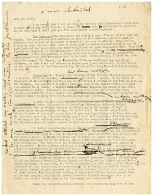 Primary view of object titled '[Draft of a Letter to Dr. Jaffe]'.