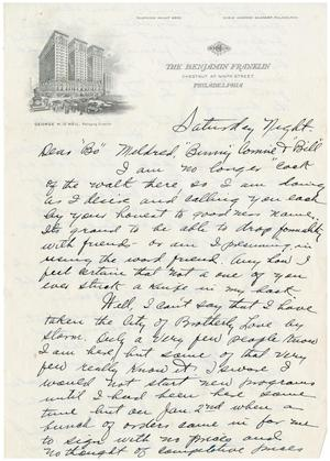 "Primary view of object titled '[Letter to ""Bo"" Mildred, ""Benny"" Connie and ""Bill""]'."