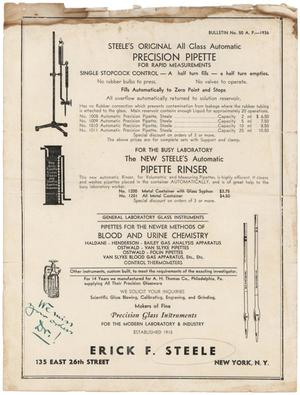 Primary view of object titled 'Steele's Original All Glass Automatic Precision Pipette for Rapid Measurements and the New Steele's Automatic Pipette Rinser'.