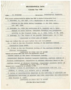 Primary view of object titled 'Biographical Data, Calendar Year 1939: M. Bodansky'.