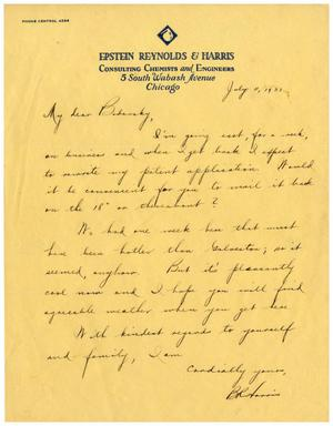 Primary view of object titled '[Letter from Benjamin R. Harris to Dr. Meyer Bodansky - July 11, 1931]'.