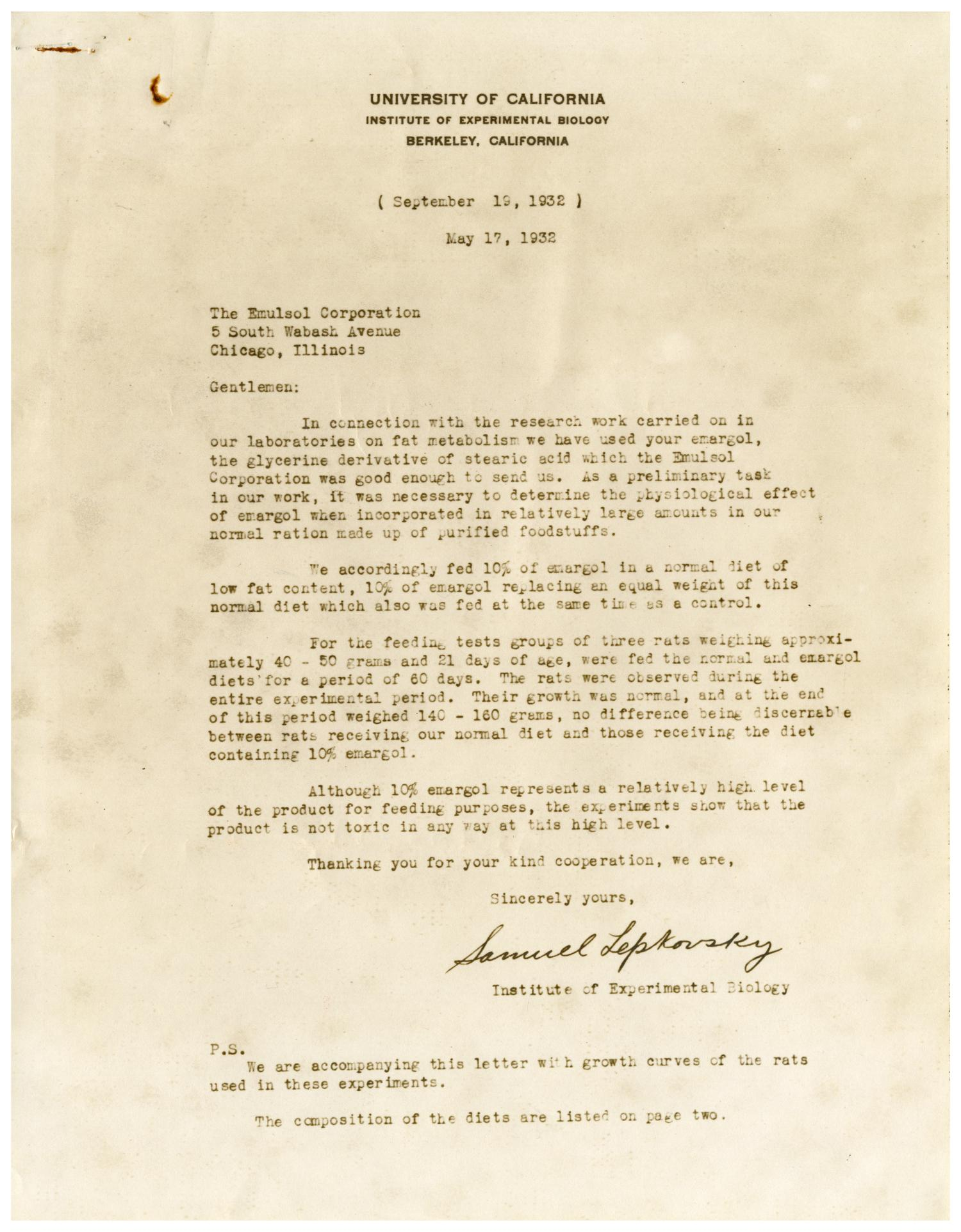[Letter from Samuel Lepkowsky to The Emulsol Corporation - May 17, 1932]                                                                                                      [Sequence #]: 1 of 6