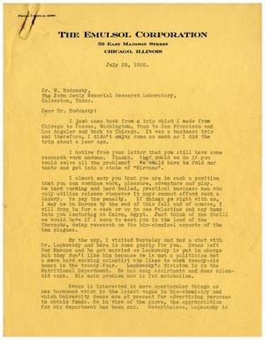 Primary view of object titled '[Letter from The Emulsol Corporation to Dr. Meyer Bodansky - July 25, 1932]'.