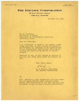 Primary view of object titled '[Letter from Benjamin R. Harris to Dr. Meyer Bodansky - November 20, 1934]'.