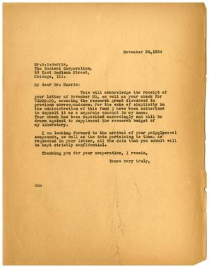 Primary view of object titled '[Letter from Meyer Bodansky to Benjamin R. Harris - November 24, 1934]'.