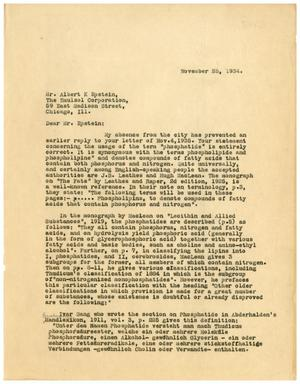 Primary view of object titled '[Letter to Albert K. Epstein - November 25, 1934]'.