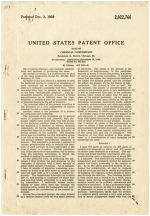 Primary view of object titled 'United States Patent Office: 2,022,766 - Chemical Composition, Benjamin R. Harris, Chicago, Ill.'.