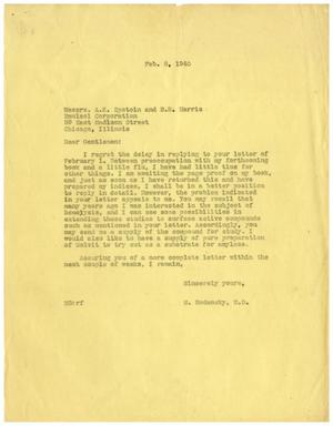 Primary view of object titled '[Letter from Meyer Bodansky to the Emulsol Corporation - February 8, 1940]'.