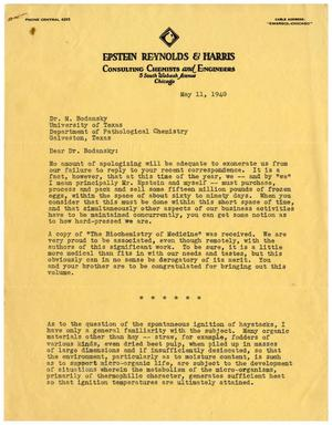 Primary view of object titled '[Letter from Benjamin R. Harris to Dr. Meyer Bodansky - May 11, 1940]'.