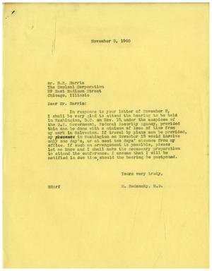 Primary view of object titled '[Letter from Meyer Bodansky to Benjamin R. Harris - November 5, 1940]'.