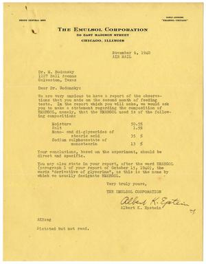Primary view of object titled '[Letter from Albert K. Epstein to Dr. Meyer Bodansky - November 6, 1940]'.