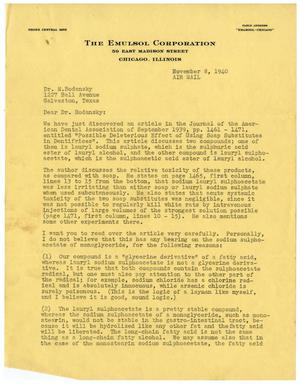 Primary view of object titled '[Letter from Albert K. Epstein to Dr. Meyer Bodansky - November 8, 1940]'.