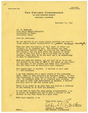 Primary view of object titled '[Letter from Albert K. Epstein to Dr. Meyer Bodansky - November 11, 1940]'.
