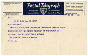 Primary view of object titled '[Postal Telegraph from Benjamin R. Harris to Dr. Meyer Bodansky - November 12, 1940]'.